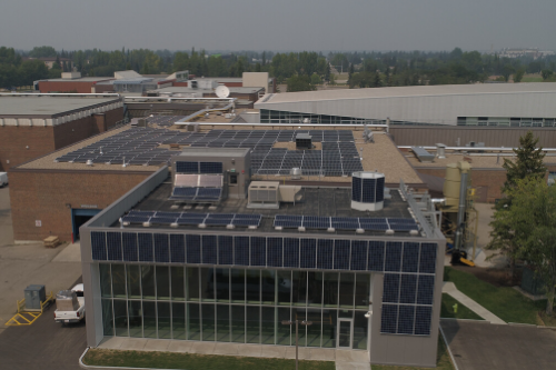 RDC Aerial of Solar panels roof